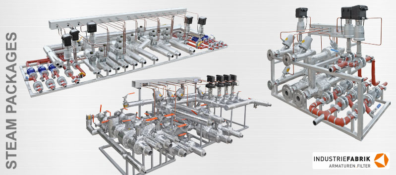 Piping steam packages for tire curing presses - Manufacturer skid mounted units