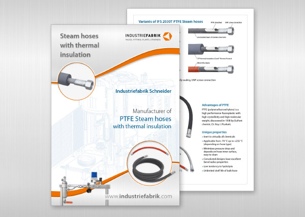 PTFE hoses - steam corrugate smooth hoses with insolation