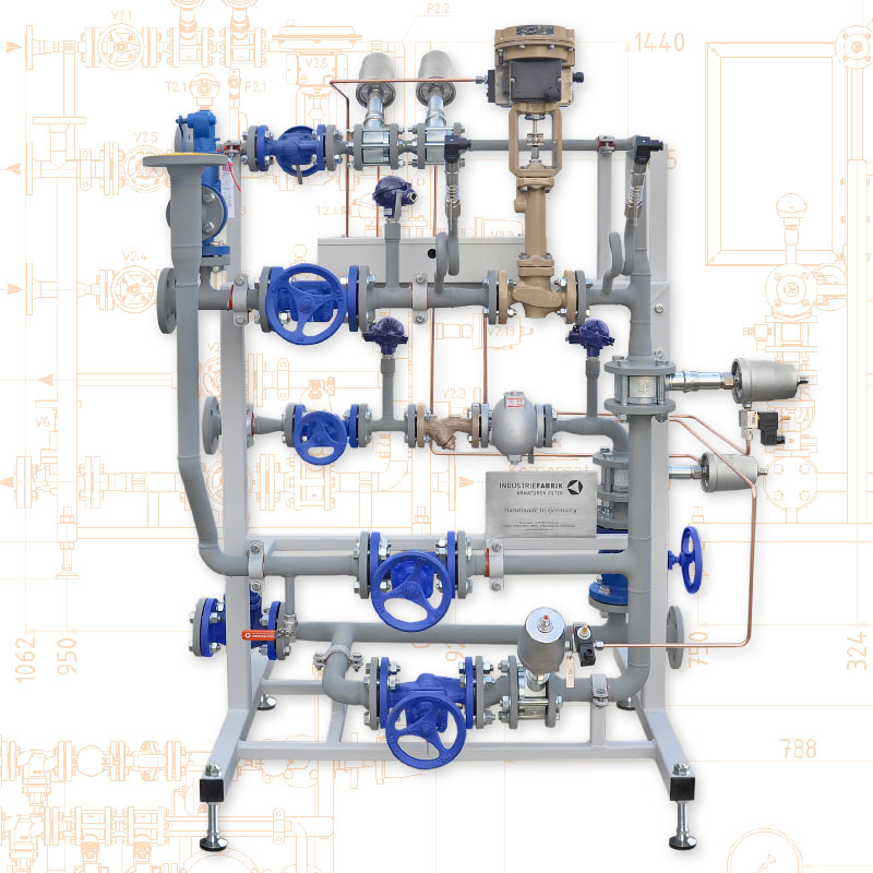 Valve skid units - Valve station for steam tempering of heating rollers